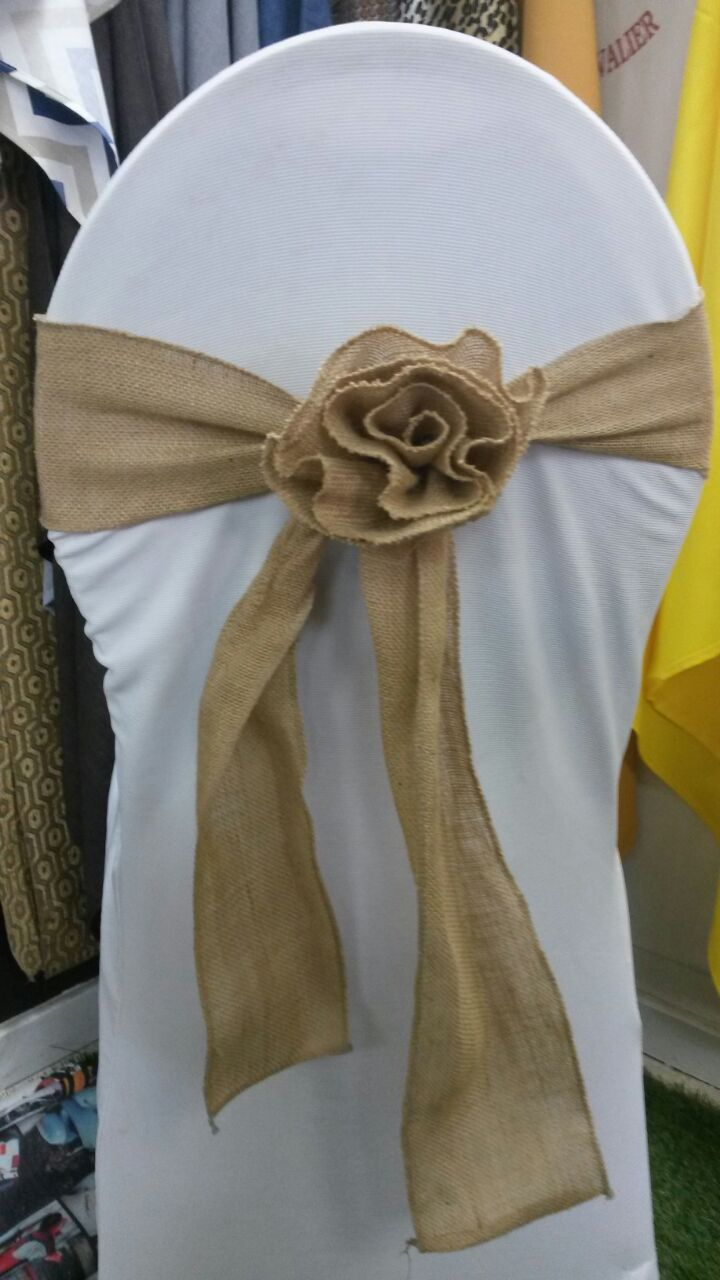 Hessian Rose Chair Tie Backs The Tablecloth Hiring Company