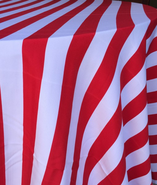 Red and White Stripe Tablecloth