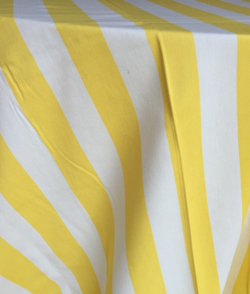 Yellow and White Stripe Cotton Tablecloth