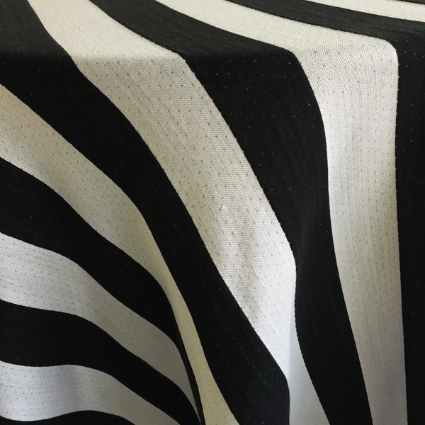 Elegant Black And White Stripe (woven) Tablecloth