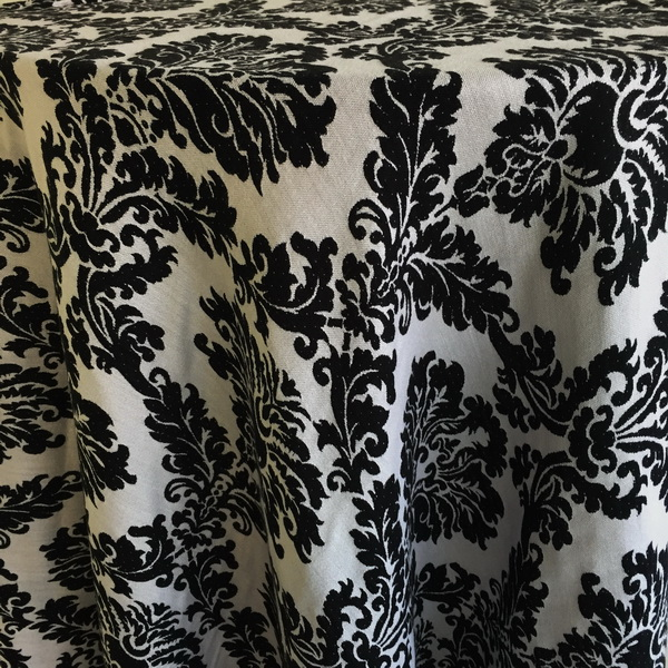 Charming Black And White Damask Woven Tablecloth