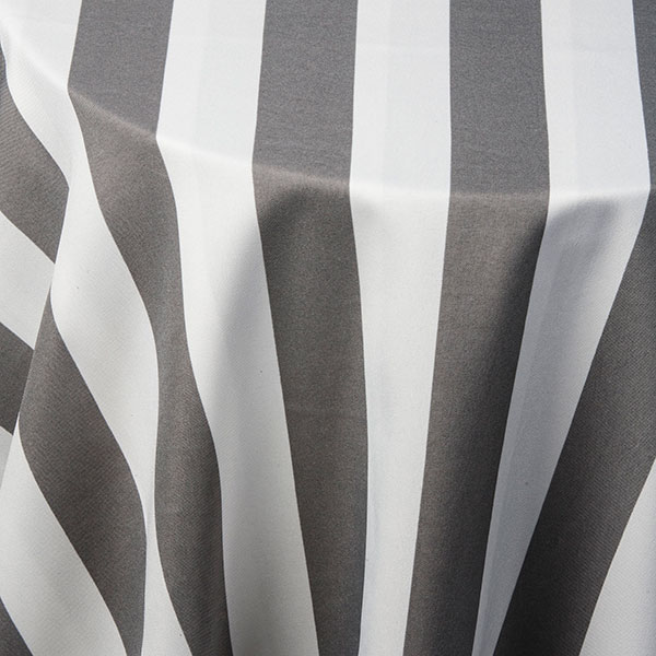 Grey And White Stripe Tablecloth