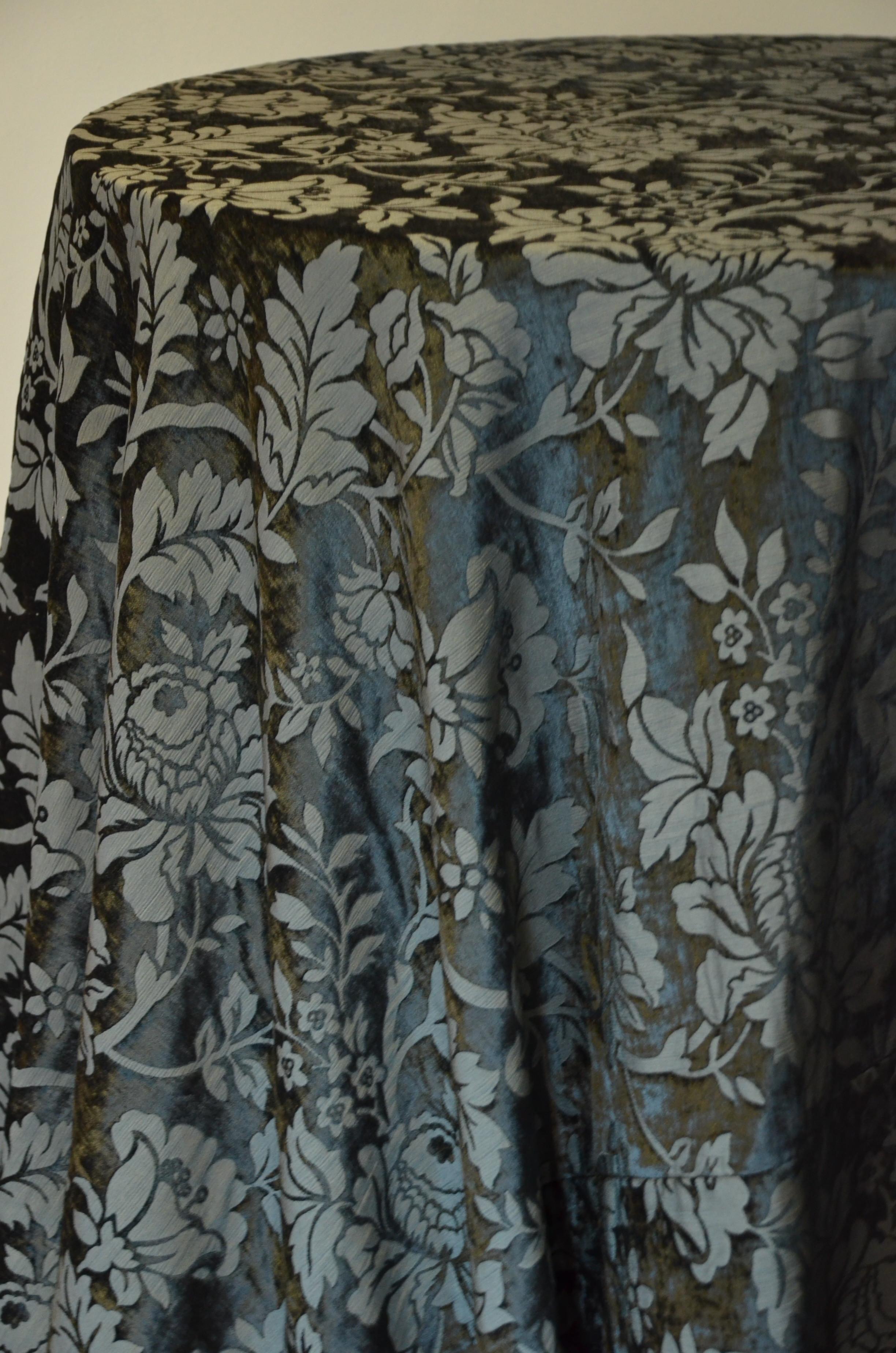 Black Velvet Damask Tablecloth