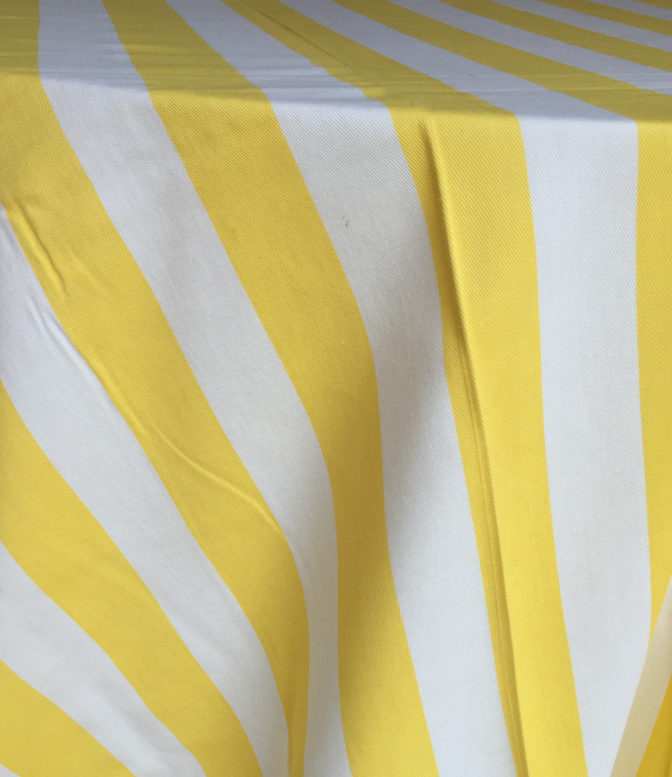Genial Yellow And White Cotton Stripe Tablecloth